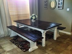 Dining room table and benches made from old wood from a delapidated barn and porch posts from an old house in Fort Worth. www.restoringtexas.com
