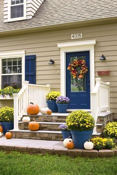 Add to the curb appeal of your house -- and increase its value -- with these easy exterior improvements. Shutters and front door painted in coordinating color. Update a basic mailbox with gleaming copper spray paint. House Paint Exterior, Exterior Paint Colors, Exterior House Colors, Exterior Siding, Beige House Exterior, Outdoor House Colors, Exterior Shutter Colors, Colonial Exterior, Exterior Color Schemes