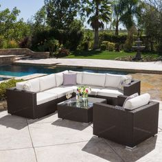 Christopher Knight Home Santa Rosa Outdoor 7-piece Wicker Seating Sectional Set with Sunbrella Cushions