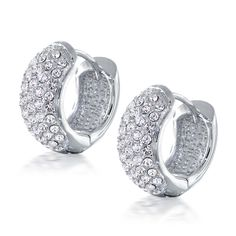 Pave Cz Diamond 5 Row Huggie Hoop Earrings
