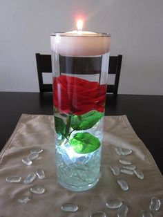 Red Rose Centerpiece Kit with Clear Marbles and LED Light
