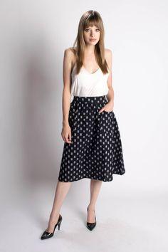 Dark Blue Midi Skirt – Bead & Reel