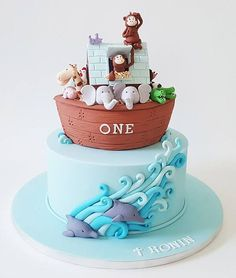 Iced Creations Noah's Ark cake with animal figurines Noahs Ark Cake, Noahs Ark Party, Cupcakes, Cupcake Cakes, Dream Cake, Cookie Gifts, Cake Pictures, First Birthday Cakes, Cakes For Boys