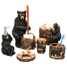 Superbe Black Bears At Play Bath Accessories