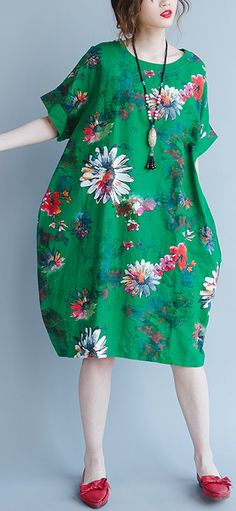 top quality green linen dress boutique short sleeve prints linen clothing dresses