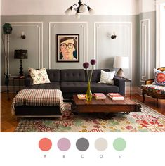 THIS IS AN EXCELLENT PALETTE    Palette 2 (Living Room) #color  A. Wet Coral (Behr), PMS 7416; B. September Glory (Pratt & Lambert), PMS 680; C. Quiet Time (Pratt & Lambert), PMS Cool Gray 9; D. *Actual Wall Color: Wedgewood Gray (Aura), PMS Cool Gray 2; E. Belmont Garden (Pratt & Lambert), PMS 344, design for the hallways