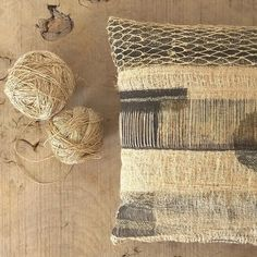 The flax for weaver Susie Gillespie's artwork cushions was grown, processed, spun into linen and then handwoven at her workshop in Devon. We have one of her unusual and organic designs to give away, worth £300. Visit our website to enter the competition (link in bio).  #selvedgemagazine #textileart #handmade #linen #flax