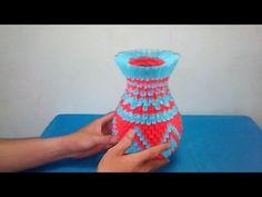 How to make 3D Origami Vase Tutorial - Hướng dẫn chi tiết làm lọ hoa giấy gấp đẹp - YouTube