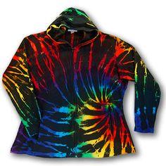 2Dye4 Tie Dye Cotton/Spandex Black Rainbow Tunic Length Full Zip Women's Hooded Jacket - 3X by 2Dye4DistinctTieDye on Etsy