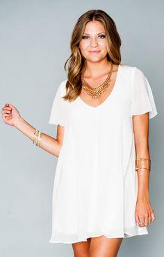 Kylie Mini Dress - White Chiffon | Show Me Your MuMu