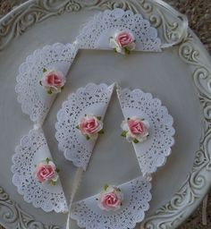 shabby chic banner...love the doiles, would change the flower to fit the wedding - @ Michelle Z - thought you might like this for the shower you're planning. Would be simple & pretty.: