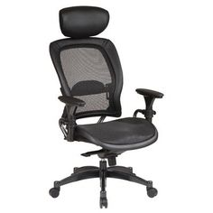 Avenue 6 Office Star 27876 Professional Breathable Mesh Black Chair with Adjustable Headrest and Gunmetal Finish Accents High Back Office Chair, Mesh Office Chair, Home Office Chairs, Office Furniture, Desk Office, Black Furniture, Furniture Ideas, Office Star, Mesh Chair
