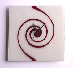 WHITE WITH DEEP RED SWIRL FUSION GLASS WALL CLOCK