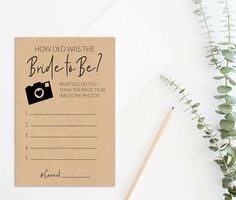 How Old Was the Bride to Be Bridal Shower Printable Rustic