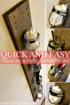 DIY Mason Jar and Pallet Board Storage Rack - 30 Pallet Ideas to Organize Your Home Storage - DIY & Crafts