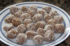 Chocolate Coconut Chia Protein Balls.  All I need is some coconut and I am SO making these- need something to eat before my run.