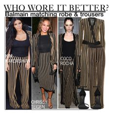 """""""Who Wore it Better? Kim , Chrissy or Coco?"""" by nfabjoy ❤ liked on Polyvore featuring Balmain, Yves Saint Laurent, WhoWoreItBetter, kimkardashian, cocorocha and ChrissyTeigen"""