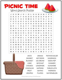 If you've ever been on a picnic, then these 24 picnic words may bring back some fond memories. Better yet, by the time you're done solving this puzzle, you may want to fill a basket with chicken and coleslaw and head out on another one! Kids Word Search, Word Search Puzzles, Word Puzzles, Spring Activities, Fun Activities, Learning Websites For Kids, Free Printable Word Searches, Educational Activities For Preschoolers, English Worksheets For Kids