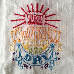 You Wash I'll Dry Hand-embroidered Kitchen by StrongArtsAndCrafts