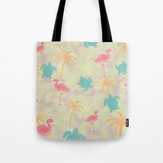 Tropical pattern tote bag from Sunshine Inspired Designs available at Society6.