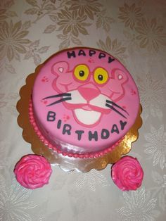 Pink Panther Birthday Cake and Cupcakes