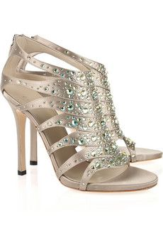 Gucci - Crystal-embellished silk-satin sandals