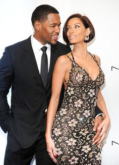 Television personality Michael Strahan and girlfriend Nicole Murphy attend amfAR's New York gala at Cipriani Wall Street on Wednesday, Feb. 6, 2013 in New York. (Photo by Evan Agostini/Invision/AP)