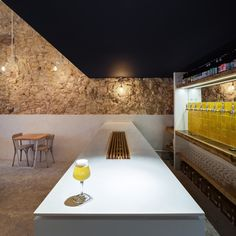 Image 2 of 13 from gallery of Fietje Beer Bar / Bertrand Guillon Architecture. Photograph by Julien Kerdraon Table Cafe, Cafe Bar, Cafe Restaurant, Restaurant Design, Back Bar Design, Architecture Design, Brewery Design, Cafe Concept, Commercial Interiors