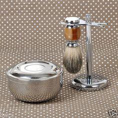 3 in1 badger wet #shaving #brush+razor #stand holder+ metal mug bowl set barber m,  View more on the LINK: http://www.zeppy.io/product/gb/2/191856930918/