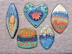 Hand-painted polymer clay pendants