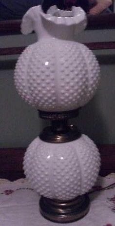 Fenton Hobnail Milk glass Lamp