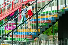 Colorful Olympic Steps in Hong Kong
