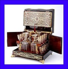 Antique-1870-French-Boulle-Marquetry-Decanter-Set-Tantalus-France-With-key