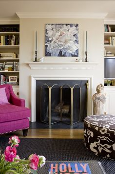 Asthonising Transitional Family Room Design Interior with Pink Sofa Furniture and Classic Fireplace Mantel Design Ideas for Inspiration Beige Living Rooms, Transitional Living Rooms, Transitional Decor, Tan Rooms, Transitional Kitchen, Fireplace Surrounds, Fireplace Design, Inset Fireplace, Reface Fireplace