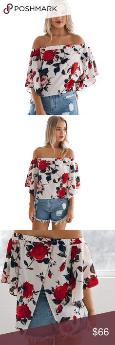 Open Back Floral Off Shoulder Ruffle Sleeve Blouse NWT  ❌ Sorry, no trades.   fairlygirly fairlygirly Tops Blouses
