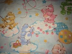Vintage Care Bears 1982 Flat Bed Sheet-Twin Size by Heremeow