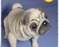 Amigurumi Lion Perritos : Pug dog crochet pattern pdf. english usa dog crochet pdf and