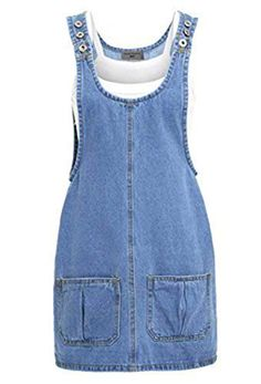 style denim jumper dress with adjustable shoulder straps. Jumper Dresses: 15 Outfit Ideas and Options to Shop Now Denim Jumper Dress, Sleeveless Denim Dress, Denim Shirt, Shirt Dress, Denim Pinafore, Pinafore Dress, Umgestaltete Shirts, Denim Fashion, Fashion Outfits