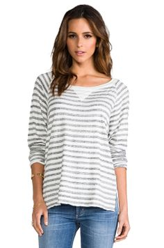 Tylie Stripe Off the Shoulder Raglan in Heather/White Stripe from REVOLVEclothing