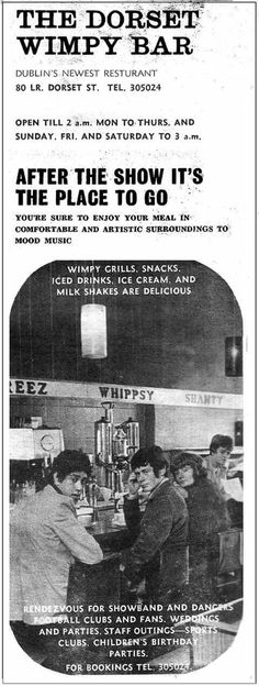 18yo Phil Lynott, later superstar vocalist of Thin Lizzy, features on this Irish Wimpy ad