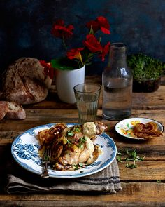 Dijon mustard rabbit with pancetta crisps Steak And Kidney Pie, Turkey Recipes, Game Recipes, South African Recipes, Perfect Food, Poultry, Mustard, Slow Cooker, Crisp