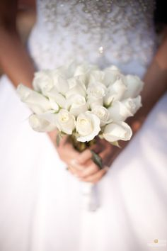Wedding Bouquet - Simple White Roses