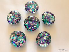 Set of 6 Flat Glass Gem Confetti Glitter Magnets Aqua Teal Purple Pink & Silver Sparkling Refrigerator Kitchen Decor Gift Free Shipping by CanvasCoveArt on Etsy