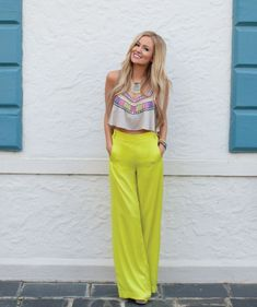 Emily Maynard: Cropped top & bright high waisted trousers from @K k Bloom Boutique