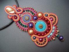 Soutache fait main unique/soutasz collier, style hippie de boho gitane : Harem