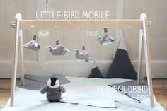 flying birds - create an entertaining and calm landscape for you little one wirh FABELAB little bird mobile on a wooden babygym.