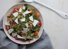 This Cherry Tomato Purslane Bulgar Salad is a wonderful and hearty combination of purslane leaves and cooked bulgar wheat. It's a very loose play on a panzanella salad.