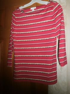 fba4d7dab7f426 NWOT CHARTER CLUB Hot Pink Striped 92% Nylon 8% Spandex 3 4 Sl Top Size S   fashion  clothing  shoes  accessories  womensclothing  tops (ebay link)