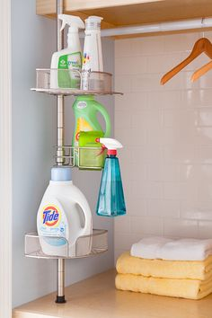 Shower caddy in laundry room for supplies