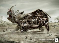 WWF: Rhino Stop criminals making a killing Help kill the trade that… Creative Advertising, Print Advertising, Print Ads, Advertising Campaign, Campaign Posters, Art Cg, Wwf Poster, Ogilvy Mather, Plakat Design
